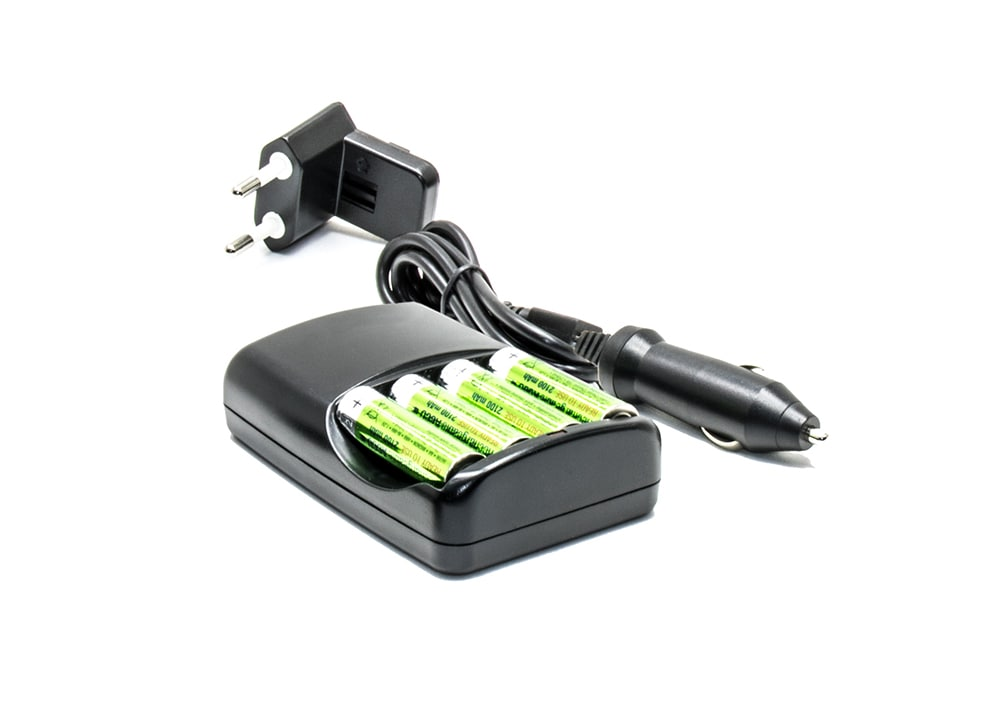AC & Car Charger 4 x AA Rechargeable Batteries