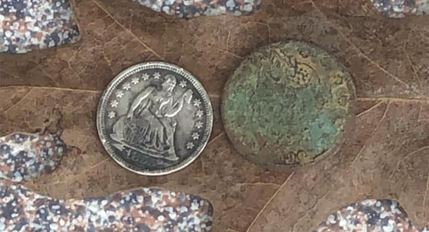My first V nickel and my oldest seated dime