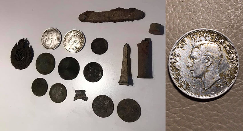 Two silver coins and others