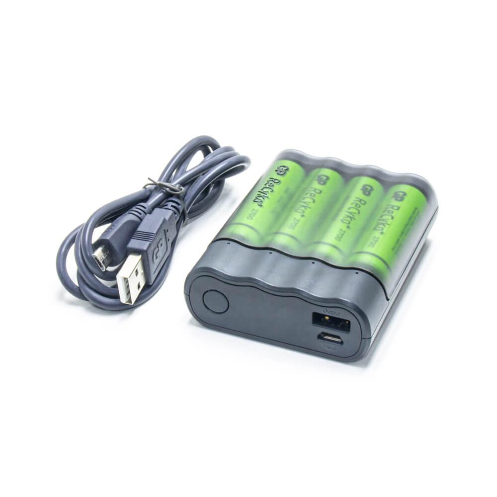 Cargador USB y 4 pilas recargables AA