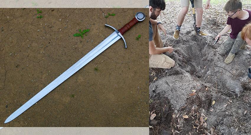 Miecz rycerza znaleziony z Simplex
