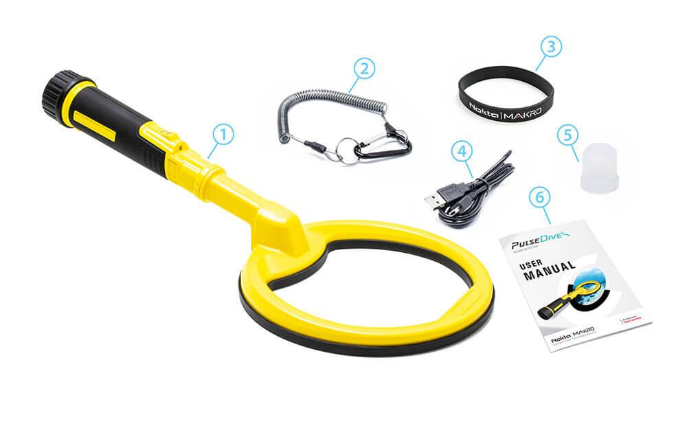 Nokta Makro PulseDive Детектор акваланг - желтый комплект поставки