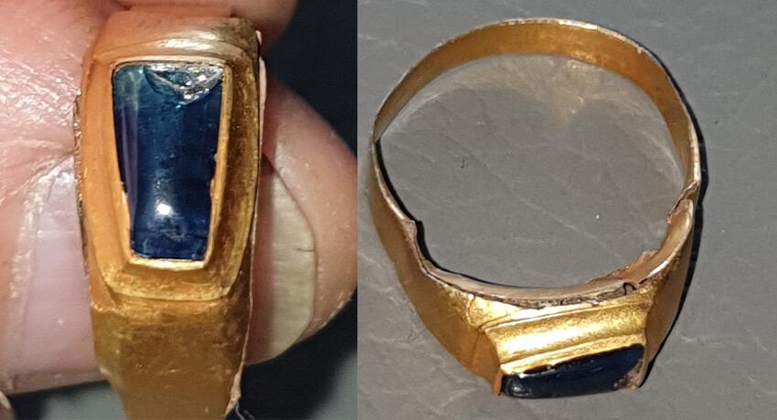 Este anel medieval de ouro e safira